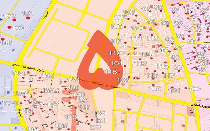 منطقه ۵ این شهر جدید حد فاصل خیابات جمهوری اسلامی و خیابان انبیا